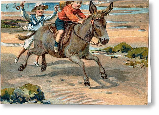 Galloping Donkey At The Beach Greeting Card by Unknown