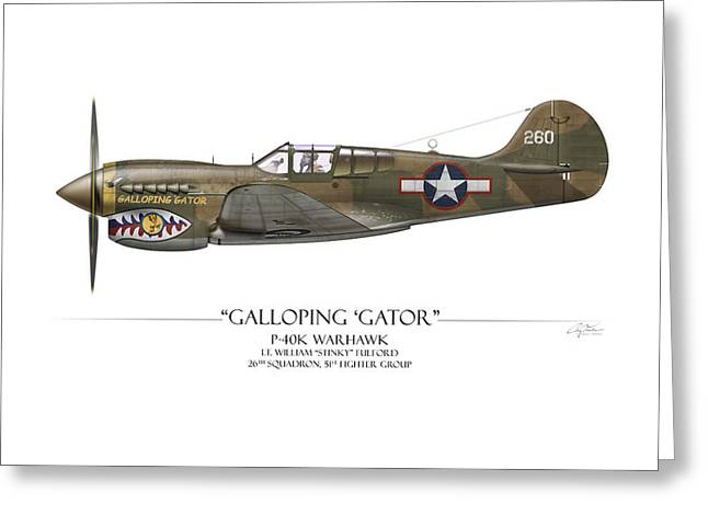 Red Tiger Greeting Cards - Galloping Gator P-40K Warhawk Greeting Card by Craig Tinder