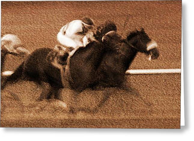 Race Horse Greeting Cards - Galloping Horses 1 Greeting Card by Cheryl Ann Quigley