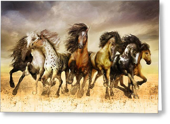 Grey Clouds Digital Art Greeting Cards - Galloping horses Full Color Greeting Card by Shanina Conway