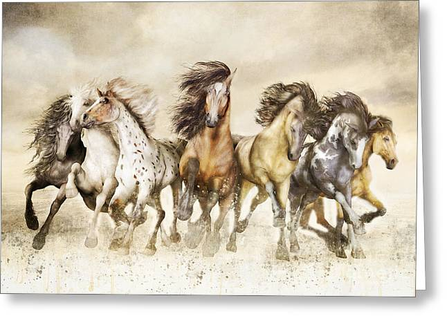 Grey Clouds Digital Art Greeting Cards - Galloping Horses Magnificent Seven Greeting Card by Shanina Conway