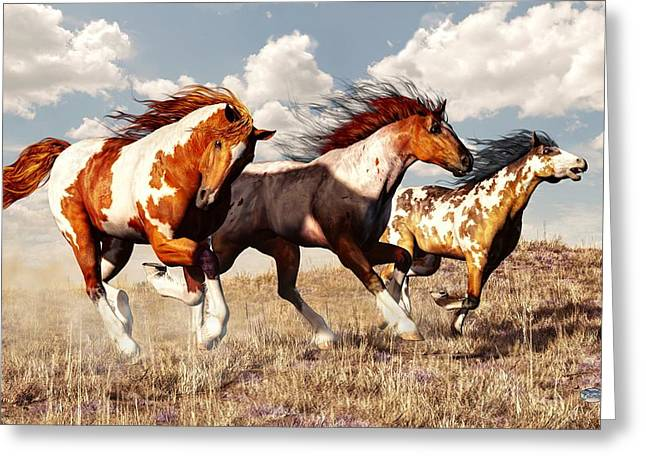 Spotted Horse Greeting Cards - Galloping Mustangs Greeting Card by Daniel Eskridge