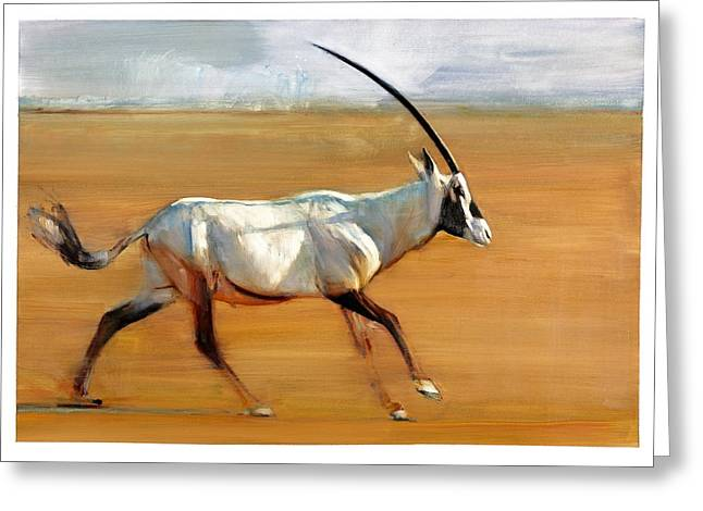 Horns Greeting Cards - Galloping Orynx Greeting Card by Mark Adlington