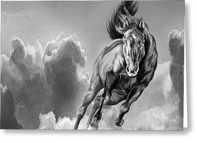 Storm Lovers Art Greeting Cards - Galloping Wild Black Horse Spirit Greeting Card by Renee Forth-Fukumoto