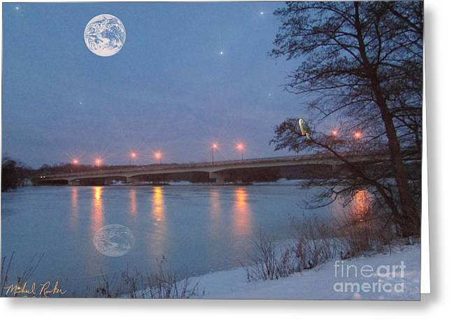 Sea Moon Full Moon Greeting Cards - Gallup Park Greeting Card by Michael Rucker