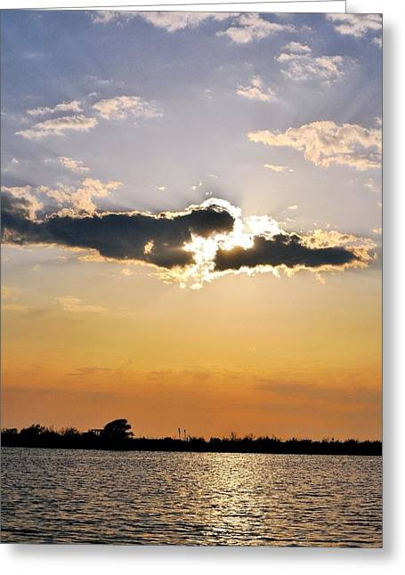 Sun Breaking Through Clouds Greeting Cards - Galveston Bay Sunlight Greeting Card by Kristina Deane