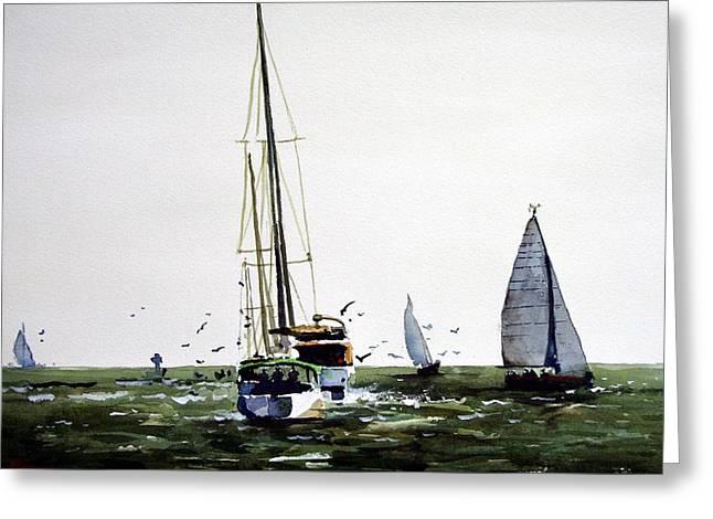 Galveston Paintings Greeting Cards - Galveston Bay Greeting Card by Ron Bigony