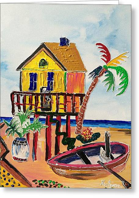Galveston Greeting Cards - Galveston Beach House 1 Greeting Card by Alberto Kurtyan