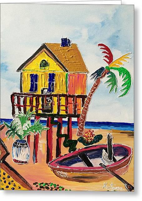 Galveston Paintings Greeting Cards - Galveston Beach House 1 Greeting Card by Alberto Kurtyan