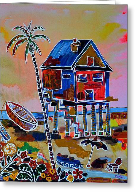 Galveston Greeting Cards - Galveston Beach House 2 Greeting Card by Alberto Kurtyan