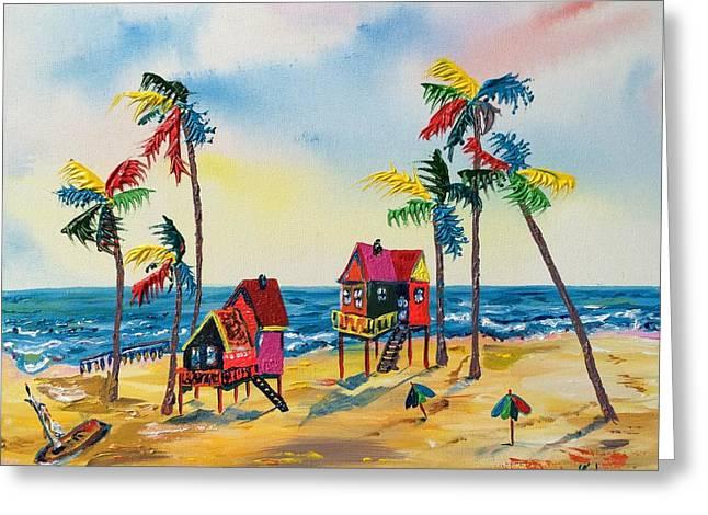 Galveston Paintings Greeting Cards - Galveston Houses Greeting Card by Alberto Kurtyan
