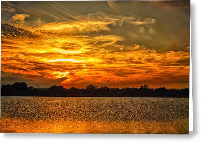 Galveston Greeting Cards - Galveston Island sunset DSC02805 Greeting Card by Greg Kluempers