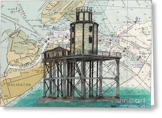 Galveston Paintings Greeting Cards - Galveston Jetty Lighthouse TX Nautical Chart Map Art Greeting Card by Cathy Peek