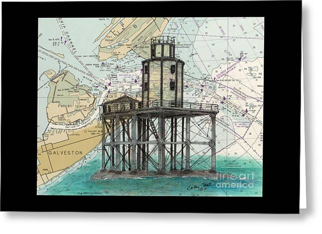 Galveston Greeting Cards - Galveston Jetty Lighthouse TX Nautical Chart Map Art Greeting Card by Cathy Peek