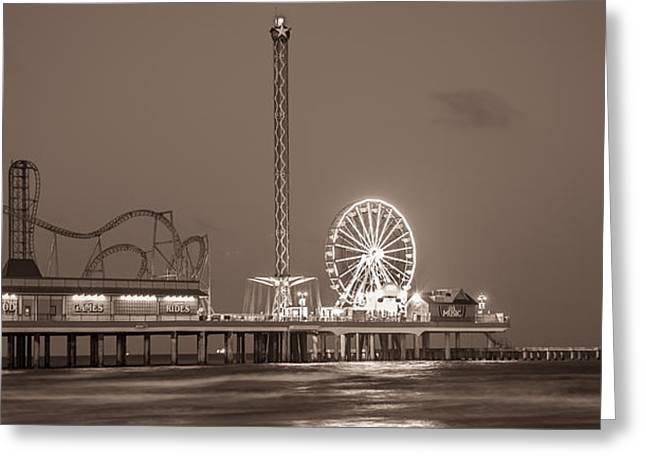 Galveston Greeting Cards - Galveston Pier Sepia  Greeting Card by John McGraw