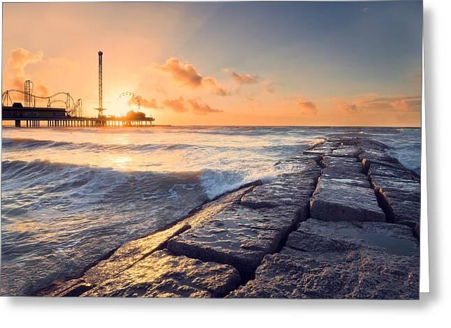 Galveston Greeting Cards - Galveston Sunrise Greeting Card by Ray Devlin