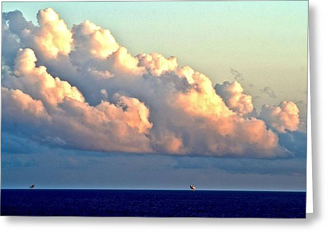 Storm Clouds Pyrography Greeting Cards - Galveston Sunset Greeting Card by Brian Stone