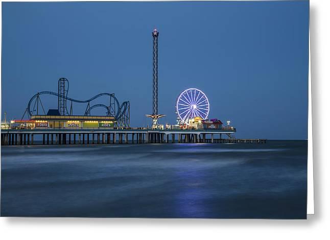 Ocean Photography Greeting Cards - Galveston TX Pier Greeting Card by John McGraw
