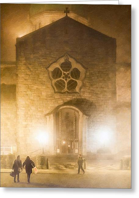 Galway Cathedral In A Winter Fog Greeting Card by Mark E Tisdale