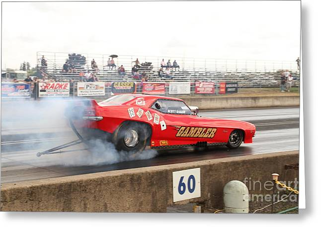 Time Trials Greeting Cards - Gambler burns the track Greeting Card by Alan Conner