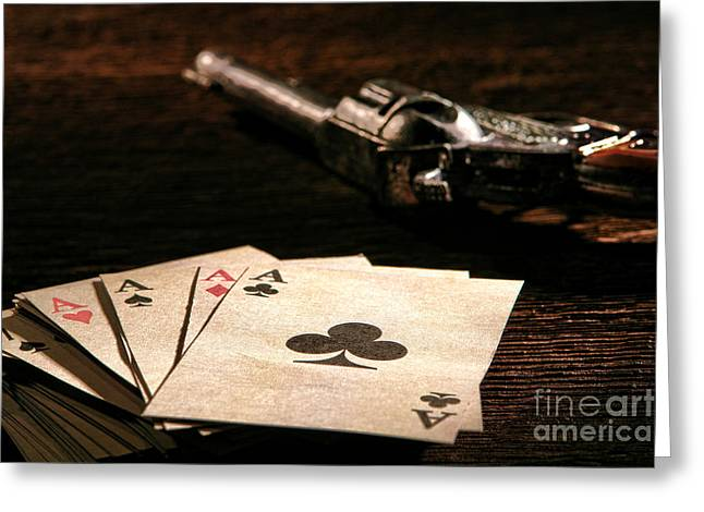 Four Aces Greeting Cards - Gambler Danger  Greeting Card by Olivier Le Queinec