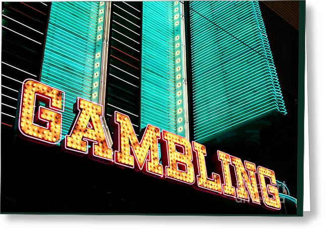Gambling Greeting Card by John Rizzuto