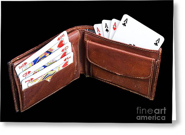 Abstract Purse Greeting Cards - Gambling wallet Greeting Card by Sinisa Botas