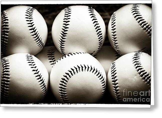 Baseball Photographs Greeting Cards - Game Balls Greeting Card by John Rizzuto