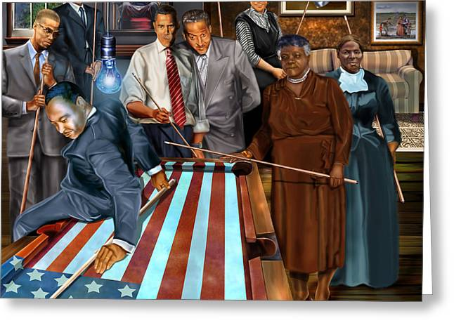 Abraham Paintings Greeting Cards - Game Changers and Table Runners P2 Greeting Card by Reggie Duffie