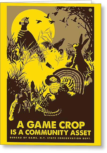 Wpa Prints Greeting Cards - Game Crop Greeting Card by Gary Grayson