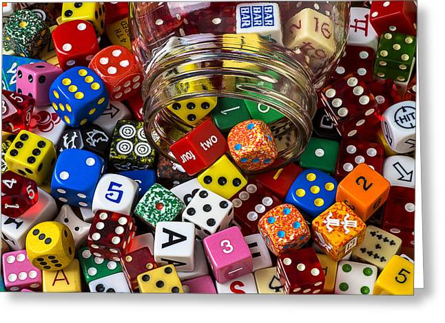 Jars Greeting Cards - Game dice Greeting Card by Garry Gay