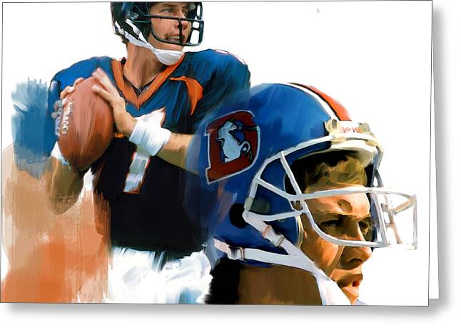 Game Elway  John Elway Greeting Card by Iconic Images Art Gallery David Pucciarelli