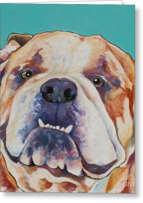 Pet Portraits Pastels Greeting Cards - Game Face   Greeting Card by Pat Saunders-White