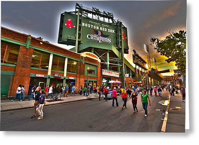 Game Night Fenway Park Greeting Card by Toby McGuire