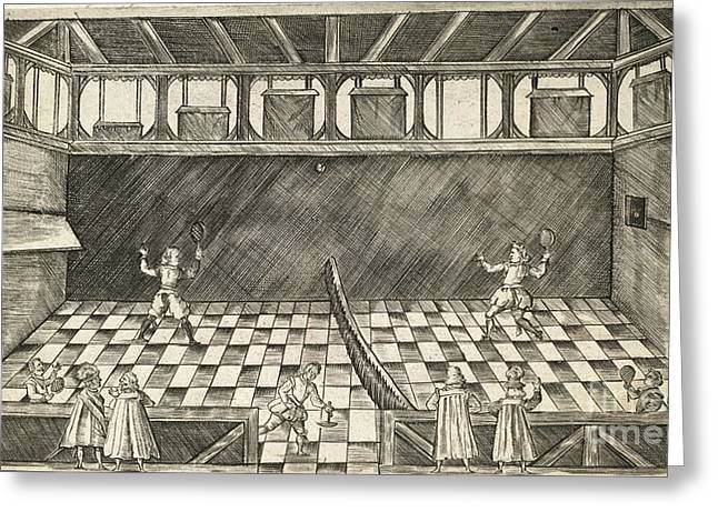 Racquet Greeting Cards - Game Of Real Tennis, 17th Century Greeting Card by British Library
