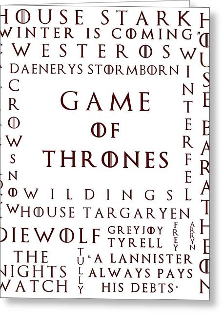 Get Greeting Cards - Game Of Thrones 1 Greeting Card by Nomad Art And  Design
