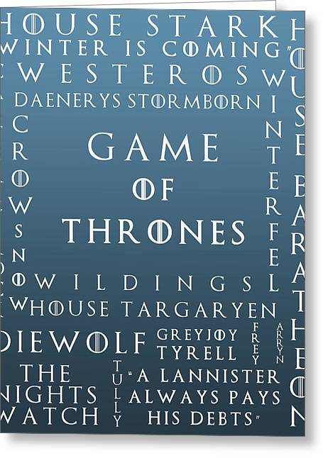 Watch The Throne Greeting Cards - Game Of Thrones 11 Greeting Card by Nomad Art And  Design