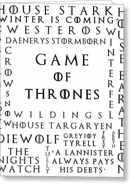 Watch The Throne Greeting Cards - Game Of Thrones 13 Greeting Card by Nomad Art And  Design
