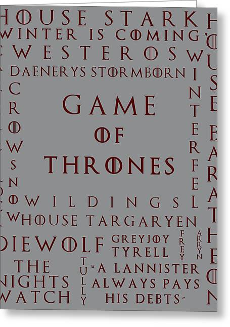 Watch The Throne Greeting Cards - Game Of Thrones 2 Greeting Card by Nomad Art And  Design