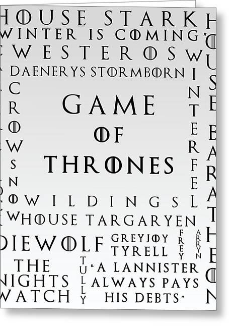 Watch The Throne Greeting Cards - Game Of Thrones 20 Greeting Card by Nomad Art And  Design