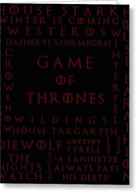 Watch The Throne Greeting Cards - Game Of Thrones 4 Greeting Card by Nomad Art And  Design