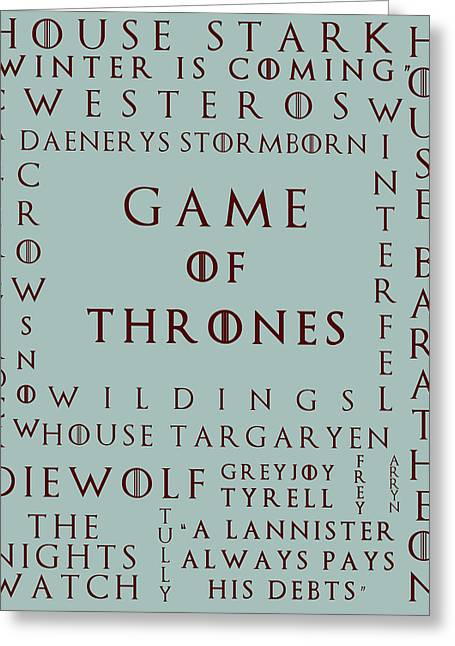 Watch The Throne Greeting Cards - Game Of Thrones 5 Greeting Card by Nomad Art And  Design