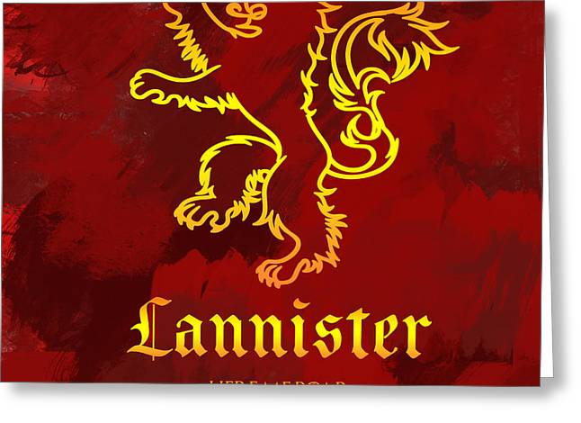 Royal Family Arts Greeting Cards - Game of thrones house Lannister Greeting Card by Sophie McAulay