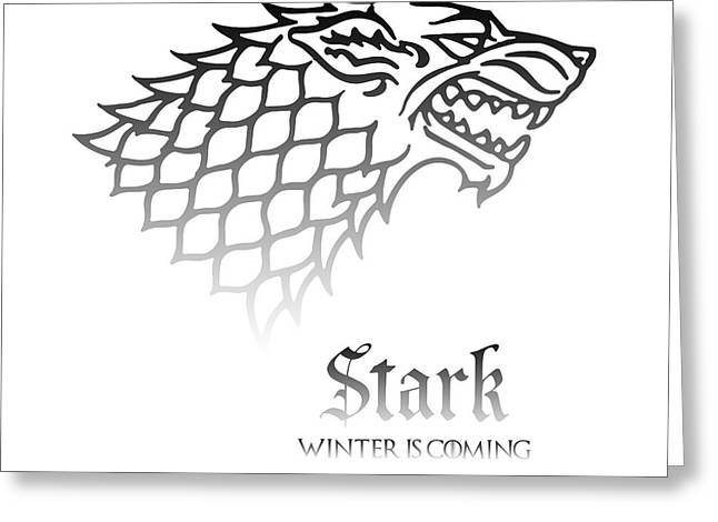 Royal Family Arts Greeting Cards - Game of thrones house Stark Greeting Card by Sophie McAulay