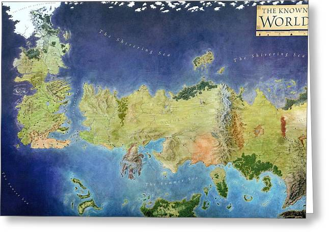 Book Art Greeting Cards - Game of Thrones World Map Greeting Card by Gianfranco Weiss