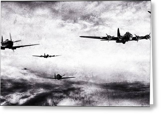 Bomber Escort Greeting Cards - Game On BW Greeting Card by Jason Green