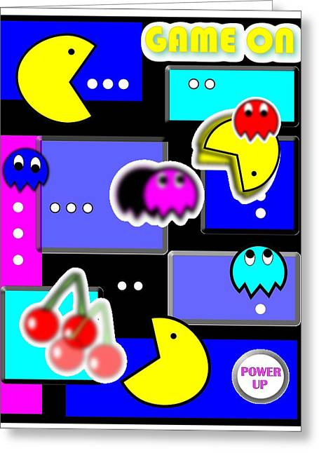 Pacman Digital Greeting Cards - Game On Greeting Card by Vincenzo Ferretti