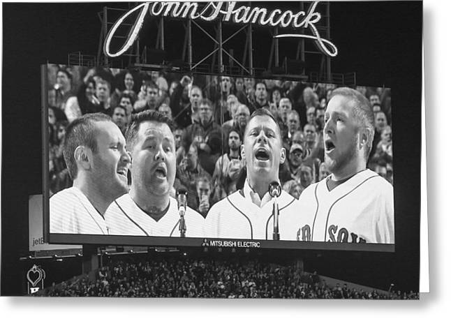 Fenway Park Greeting Cards - Game Six National Anthem Greeting Card by Paul Treseler