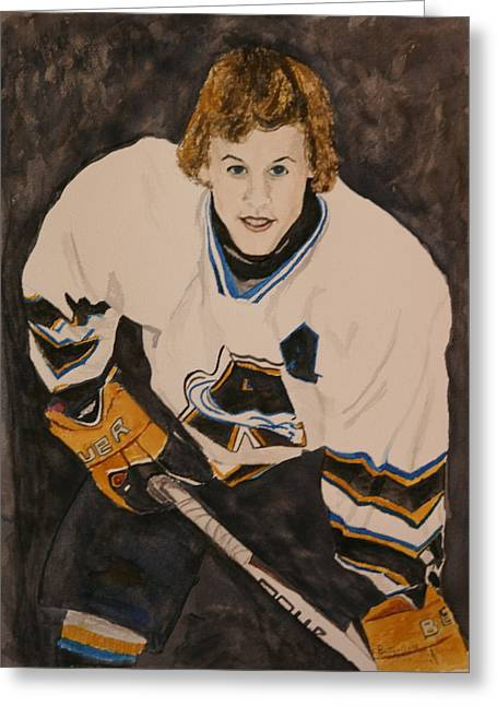 Hockey Paintings Greeting Cards - Game Time Greeting Card by Betty-Anne McDonald