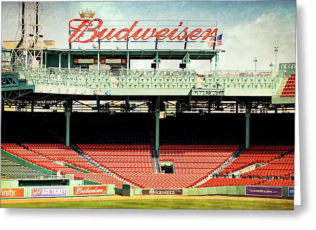 Boston Red Sox Poster Greeting Cards - Gameday Ready at Fenway Greeting Card by Stephen Stookey